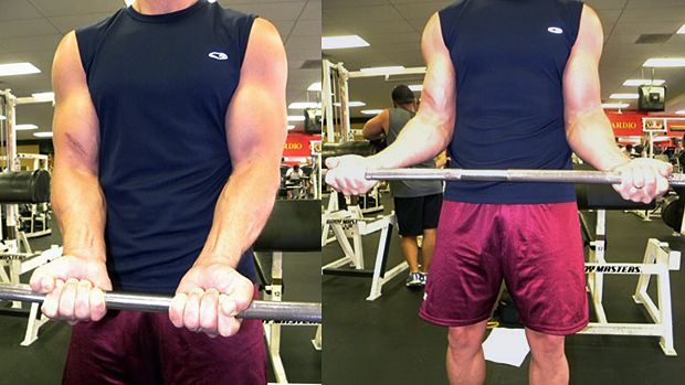 Barbell Curls with Grip-Width Variations