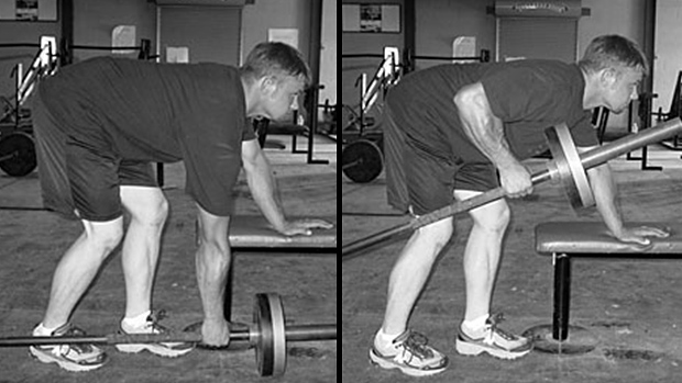 Barbell one-arm row