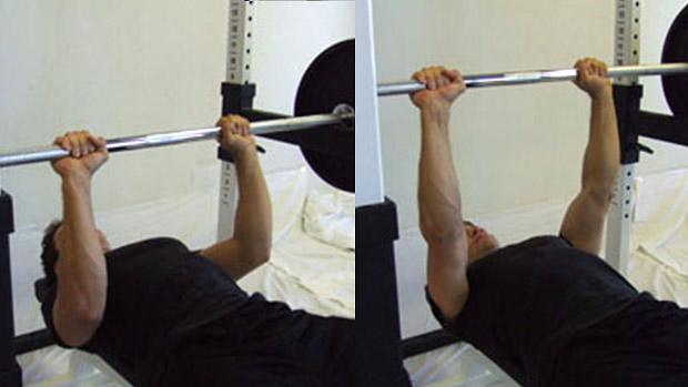 Close Grip Barbell Bench Press Supramaximal Hold