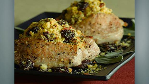 Blueberry Stuffed Pork Chops