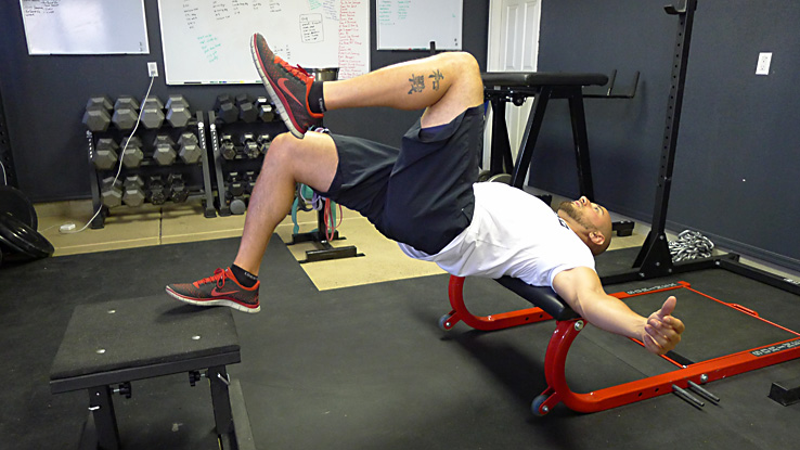 Bottoms-up Single-leg Foot and Shoulder Elevated Hip Thrust 2