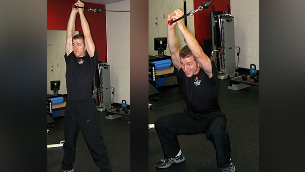 Cable overhead isometric hold and squat