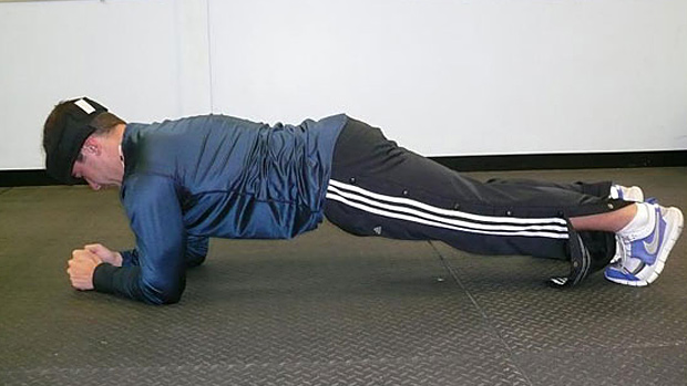 Elbow plank with neck load