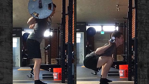 Incorrect Squat Set-Up And Descent Comparison Photo