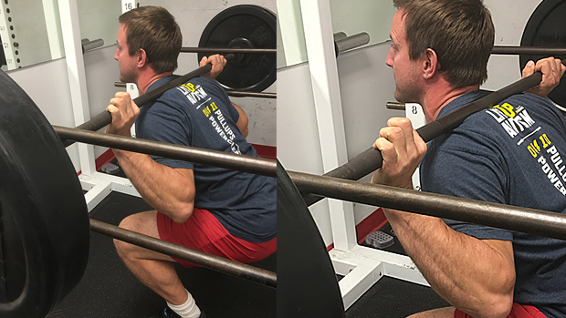 Isometric hold against the top pins in the squat rack