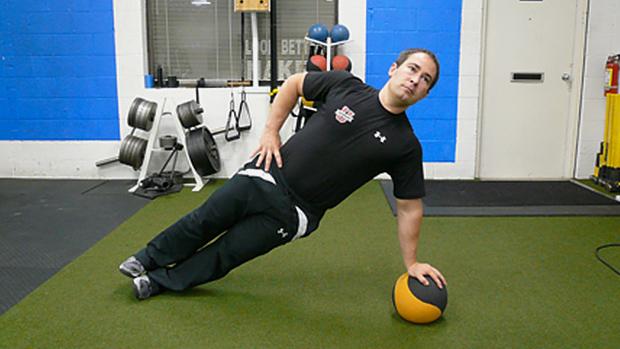 Side Plank on Medicine Ball