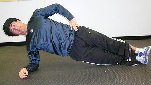 Side plank with neck load