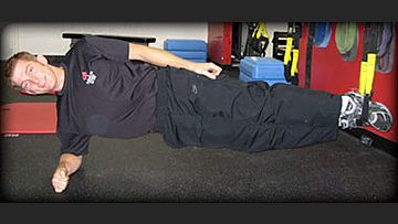 Side plank with legs suspended