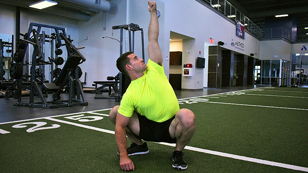 Squat Hold with Reach Back