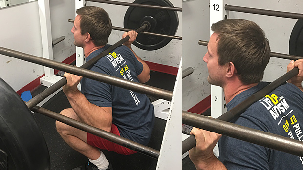 Lifting the bar off the bottom pins in the squat rack