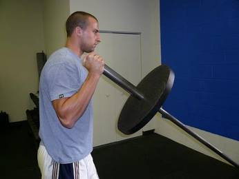 forearm perpendicular to the barbell