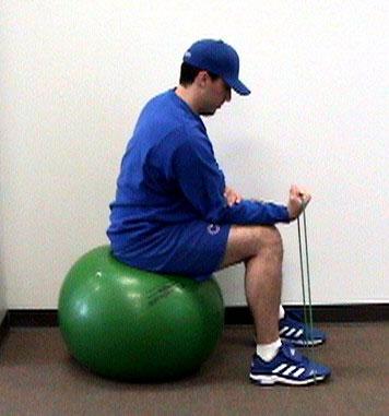 Sitting on ball.