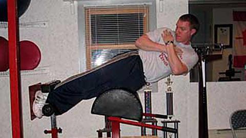 Lateral flexion off a Roman chair