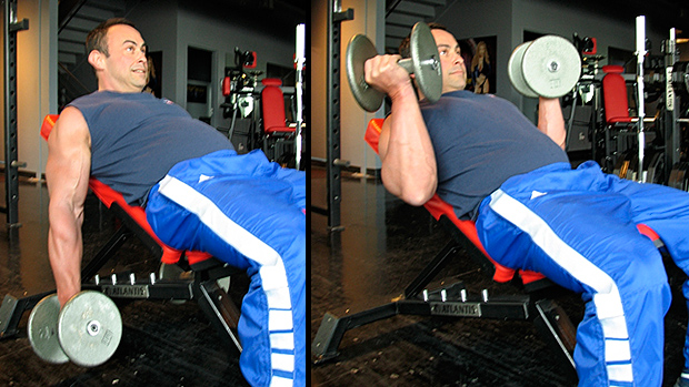 Low Incline Offset Dumbbell Curl 2