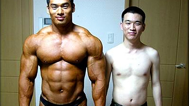 muscle man and skinny man